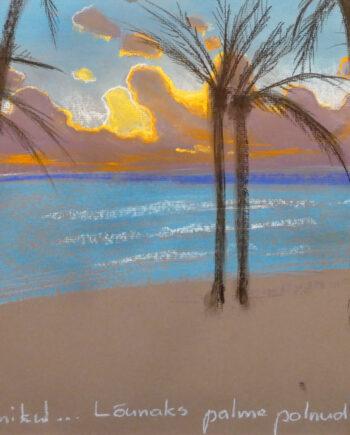 lagomera, palmtrees, seascape, blue, sea, estonianartist, taunokangro, pastel, natureart, landscapes, estonianartist,
