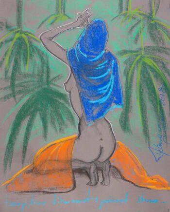 Akt, woman, nude, skirt, estonianartist, taunokangro, scarf, jungle
