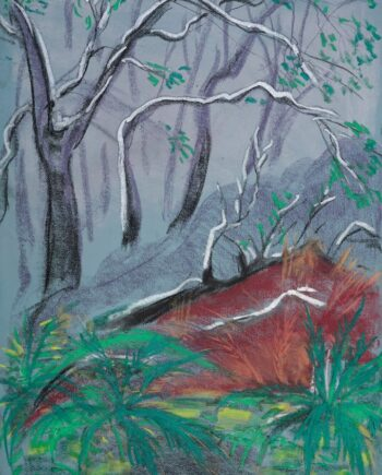 lagomera, forest, canaryislands, estonianartist, taunokangro, pastel, natureart, landscapes