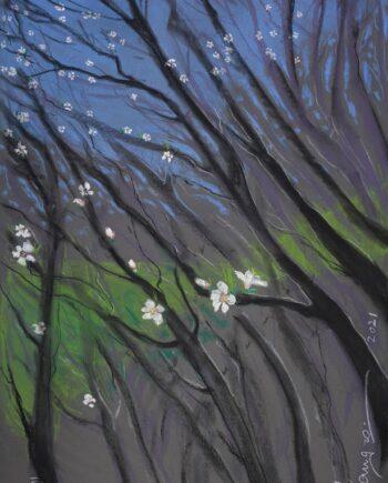 almondtrees, tenefrfe, pastelpainting, estonianartist, taunokangro