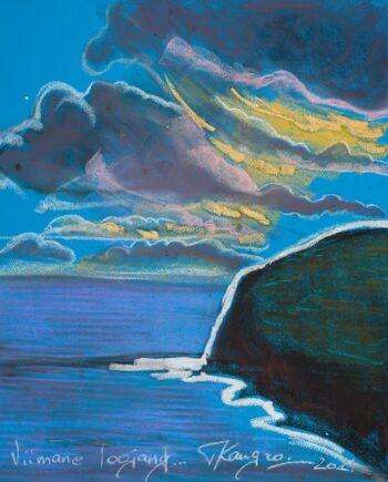 Maledives, sunset, blue, sea, estonianartist, taunokangro, pastel, natureart, landscapes