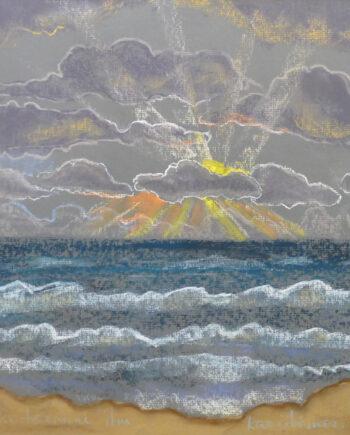 mexxico, seascape, blue, sea, estonianartist, taunokangro, pastel, natureart, landscapes