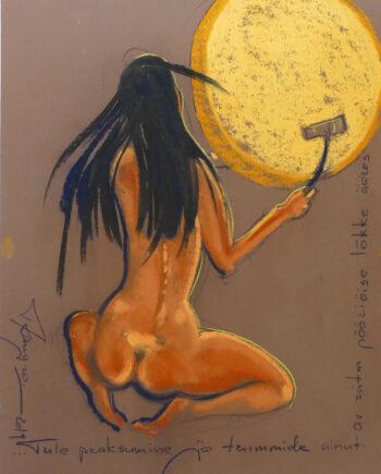 Akt, woman, nude, estonianartist, taunokangro, orange, woman, drum, pastell