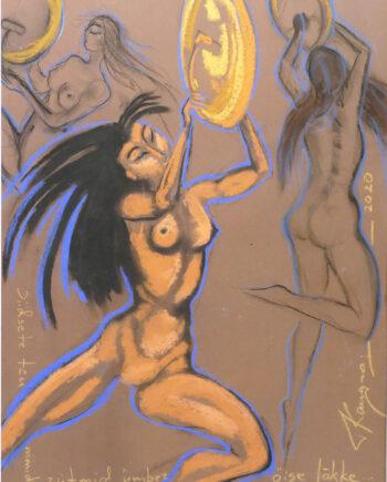 Akt, woman, nude, estonianartist, taunokangro, orange, woman, drum, pastell, dance, taunokangro