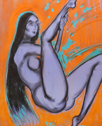 Akt, woman, nude, estonianartist, taunokangro, orange, woman, pastell, taunokangro