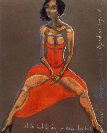 Akt, woman, pastellmaal, nude, estonianartist, taunokangro, orange, woman, reddress, pastell, taunokangro