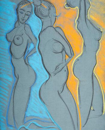 Akt, woman, nude, skirt, estonianartist, taunokangro, orange, threewoman