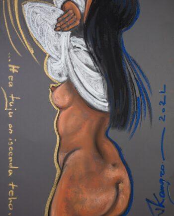 Nude, whiteshirt, woman, aktimaal, pastel,